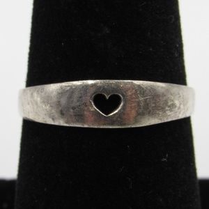 Vintage Size 7.75 Sterling Rustic Heart Ring